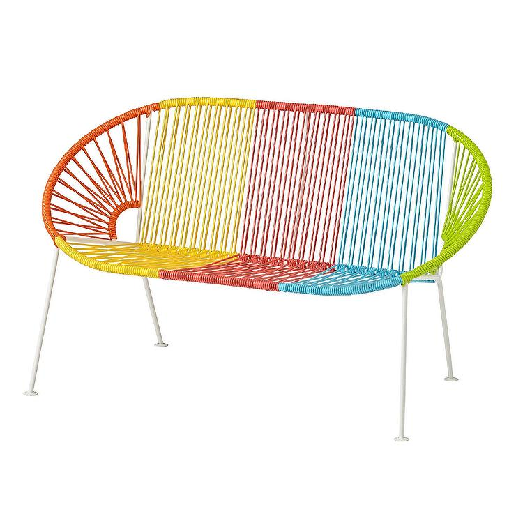 Cool Acapulco Rainbow Woven Plastic Kids Bench Gmtry Best Dining Table And Chair Ideas Images Gmtryco