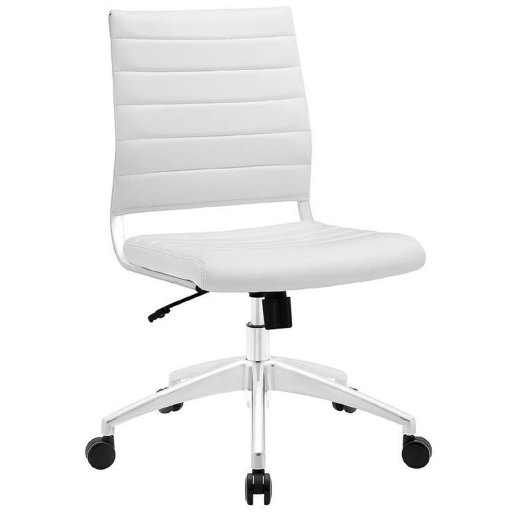 Atalanta White Leather Channel Desk Chair