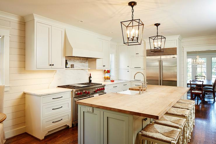 Ivory Cabinets With Gray Island Cottage Kitchen