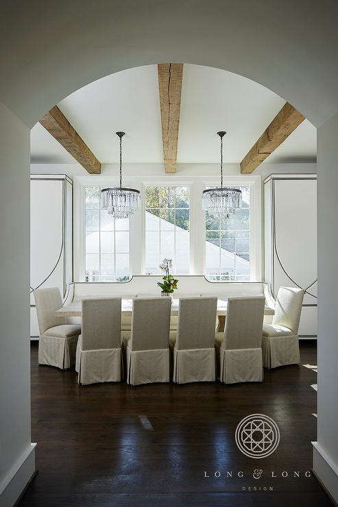 Marvelous White Nailhead Trim Dining Bench With Lumbar Pillows Ocoug Best Dining Table And Chair Ideas Images Ocougorg