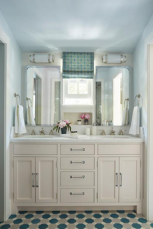 Cream Dual Washstand With Blue And Gray Hex Tiles