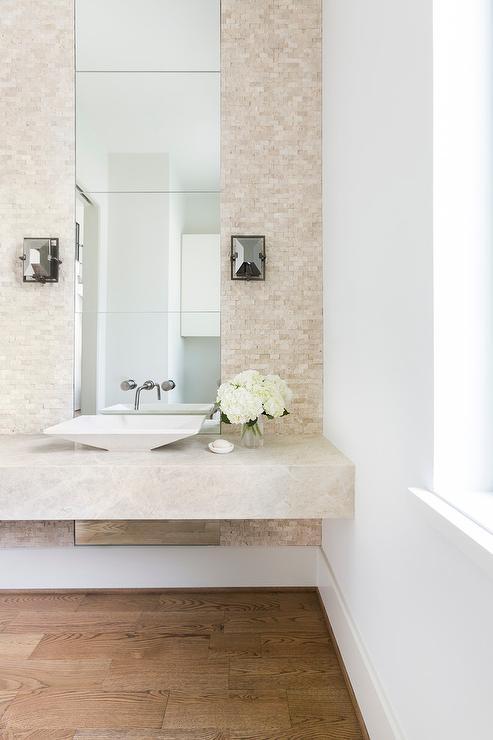 Cream Contemporary Powder Room - Contemporary - Bathroom