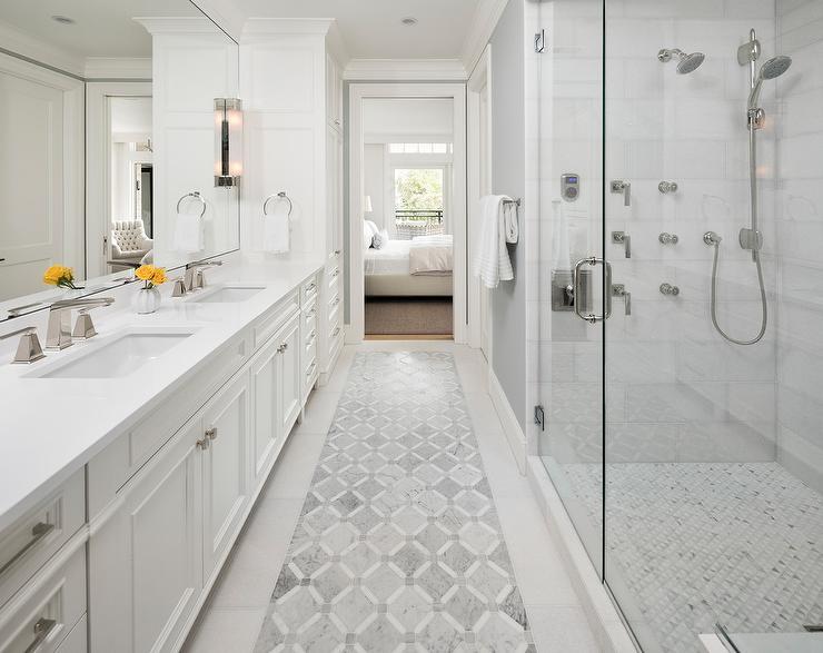 Gray Mosaic Inlay Tiles Transitional Bathroom