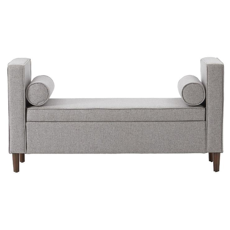 Marvelous Gray Upholstered Tapered Storage Bench Machost Co Dining Chair Design Ideas Machostcouk