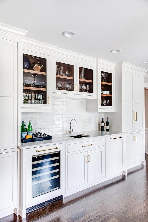 White Glass Wet Bar Backsplash Tiles Transitional Kitchen