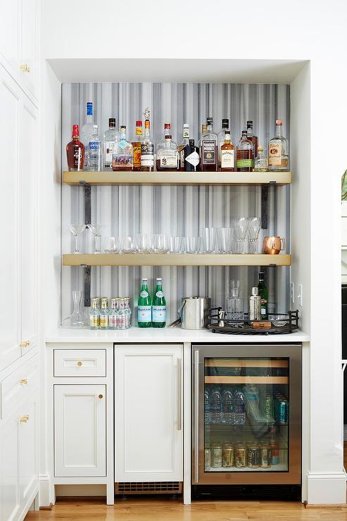 Blue Striped Marble Bar Backsplash Transitional Kitchen
