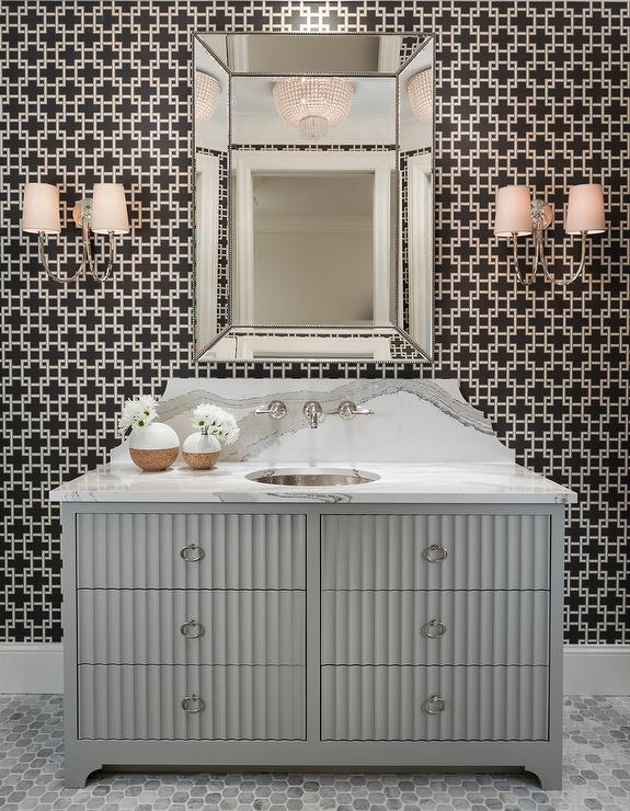 Gray Sink Vanity With Rippled Drawers Transitional Bathroom