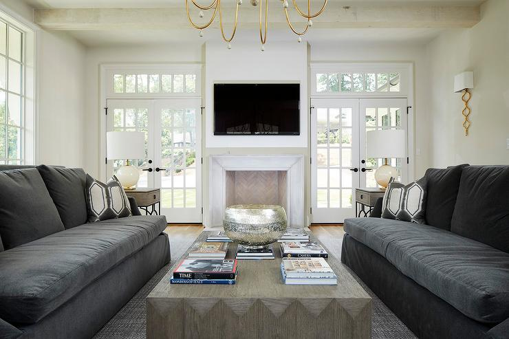 Astounding Dark Gray Sofas With Gray Wood Cocktail Table Transitional Pabps2019 Chair Design Images Pabps2019Com