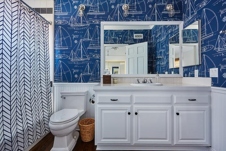 Blue Boy Bathroom With Blue Ship Blueprint Wallpaper