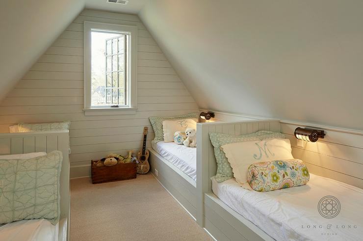 Light Gray Shiplap Built In Beds Cottage Girl S Room