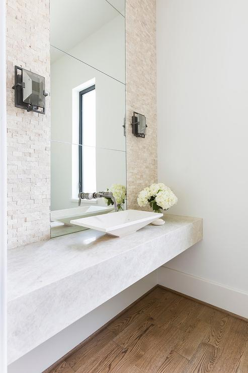Floating Powder Room Sink Vanity With Modern Vessel Sink