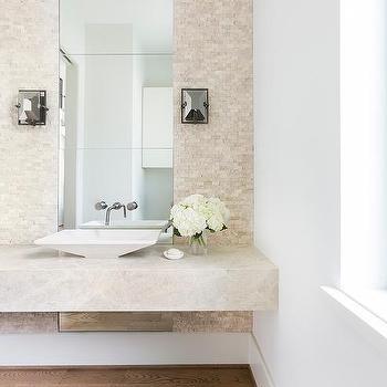 Cream Floating Powder Room Vanity Design Ideas