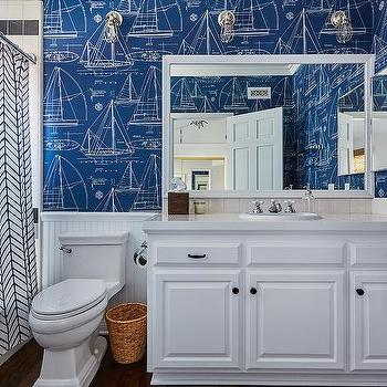 Nautical Blueprint Wallpaper Design Ideas