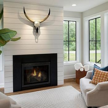 White Shiplap Living Room Fireplace Wall Design Ideas