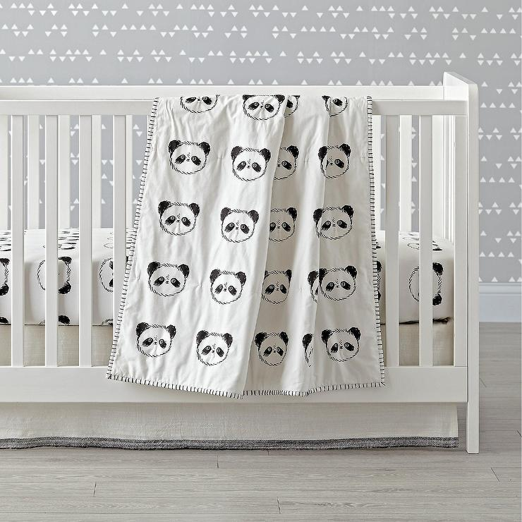 panda crib black white bedding set