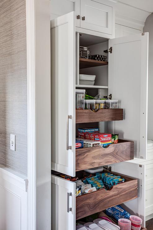 hidden pantry with stacked pull out shelves transitional kitchen. Black Bedroom Furniture Sets. Home Design Ideas