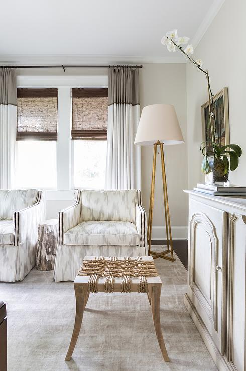 White And Gray Accent Chairs With Gold Leaf Floor Lamp