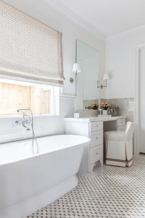 White And Gold Mosaic Bath Floor Tiles Transitional Bathroom