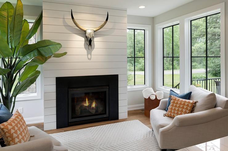 Shiplap Fireplace Wall With Metal Stag Head Transitional