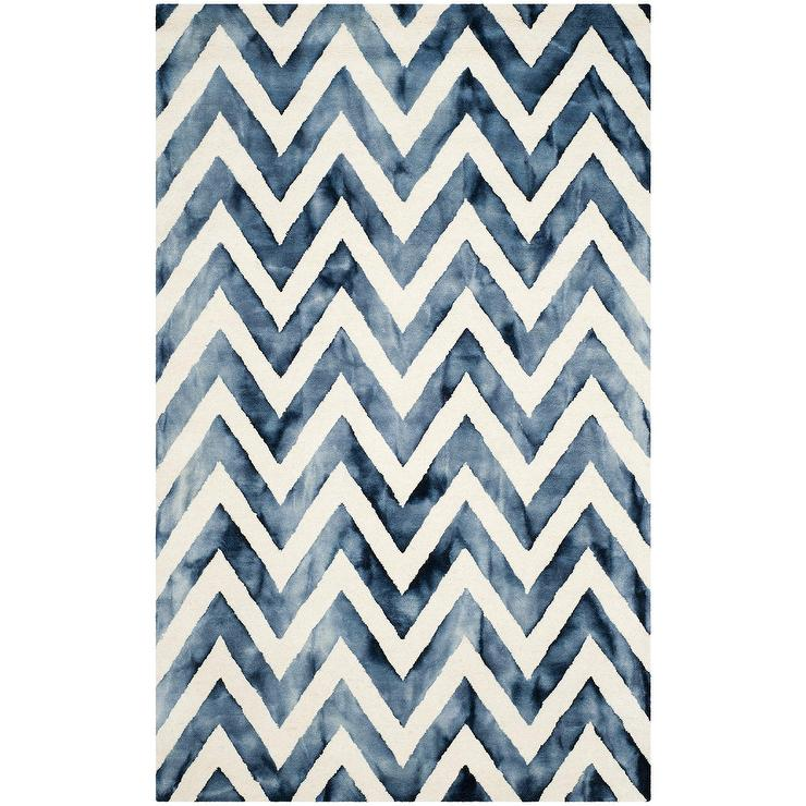 Crux Hand Tufted Ivory Navy Area Rug