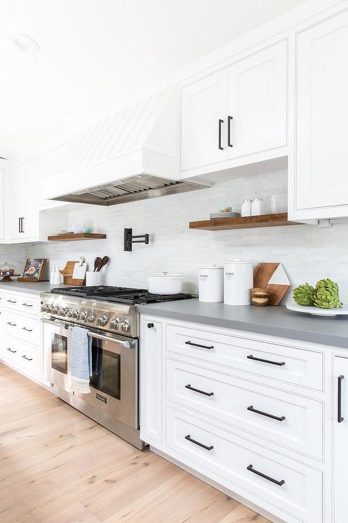 Gray Island With Dishwasher And Farm Sink Transitional