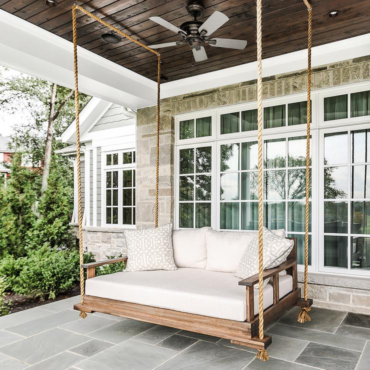 Rope Hanging Outdoor Swing Sofa Transitional Deck Patio