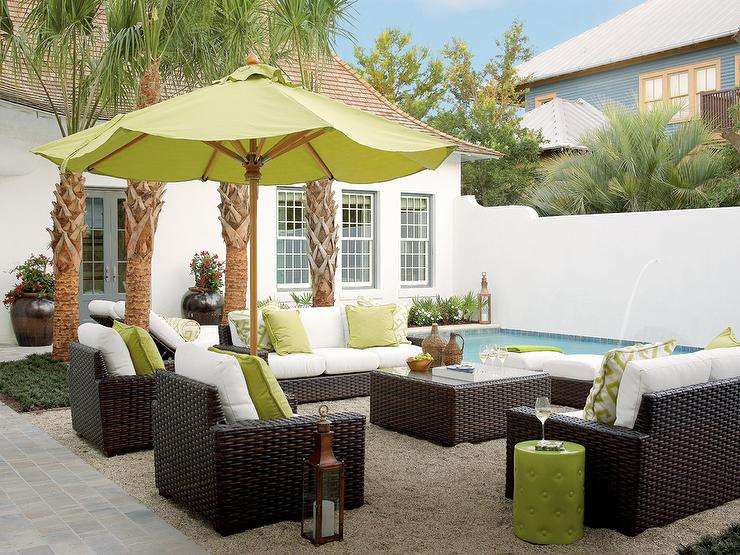 Dark Brown Wicker Outdoor Chairs With Lime Green Pillows