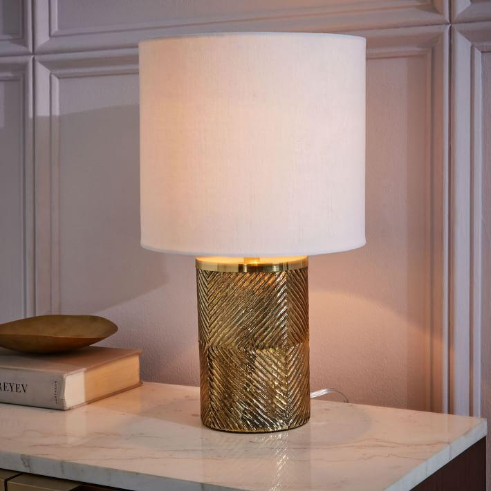 Cylindrical Gold Etched Glass Table Lamp