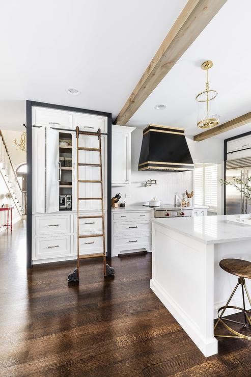 Black And White Pantry Cabinets With Ladder On Rails