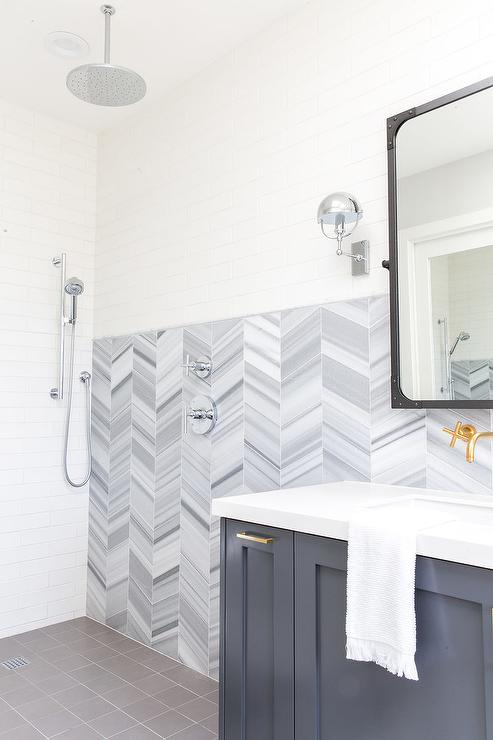 Gray Chevron Shower Wall Tiles In Open Shower