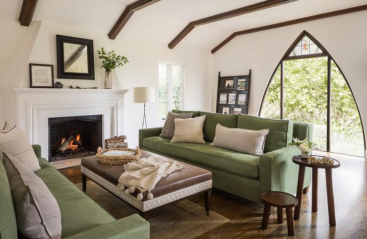 Green Sofas with Brown Leather Ottoman Coffee Table - Mediterranean ...