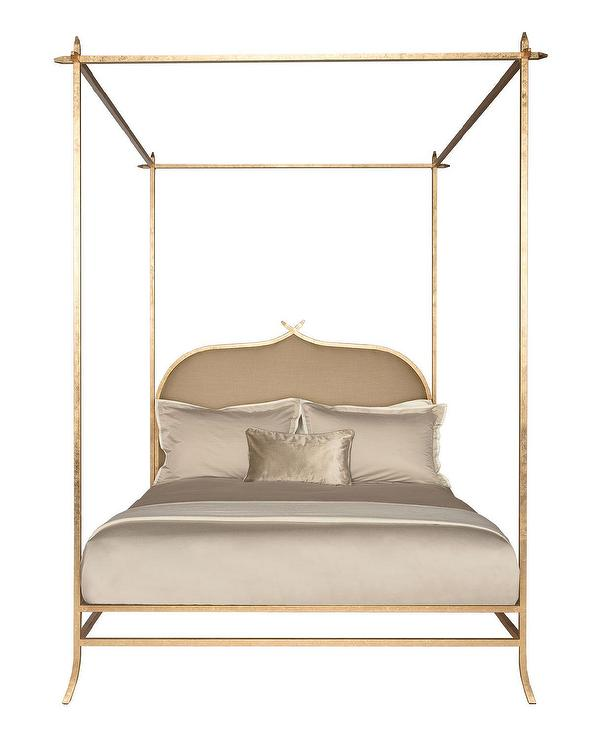 ilsa upholstered gold poster canopy bed