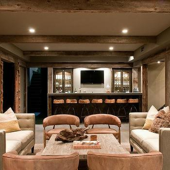 Rustic Cabin Basement With Wet Bar