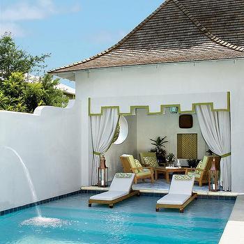 Cynthia Hayes Interior Design · Teak Pool Loungers On Steps To Pool