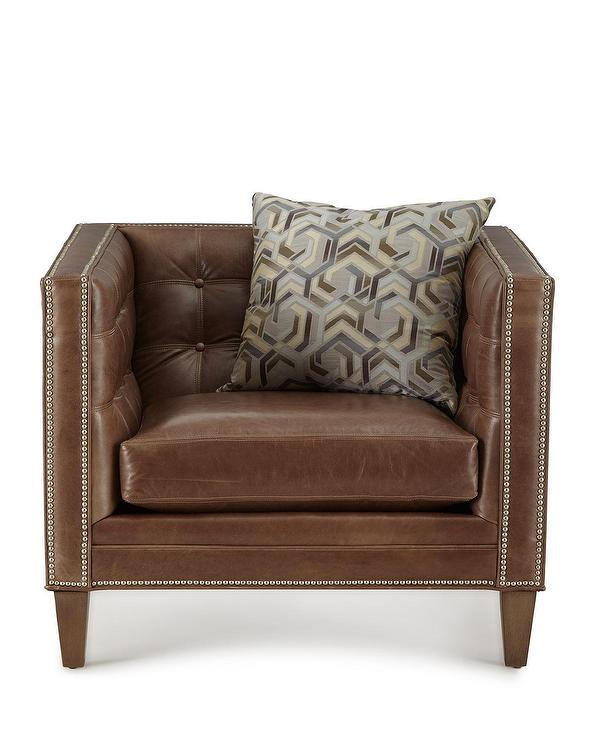 Massoud Jagger Brown Tufted Leather Chair