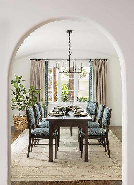 Cream And Blue Mediterranean Dining Room