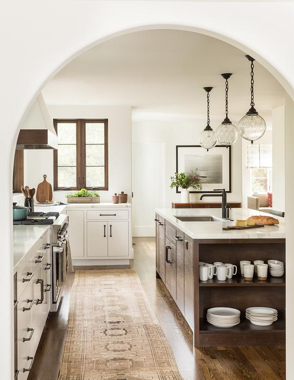 White And Brown Mediterranean Style Kitchen