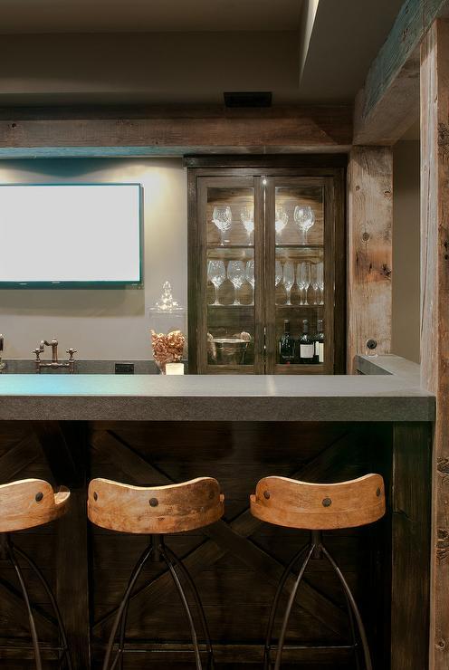 rustic basement wet bar