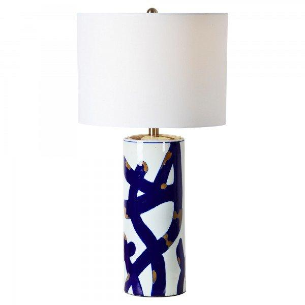 Cobalt Cylindrical Blue White Table Lamp
