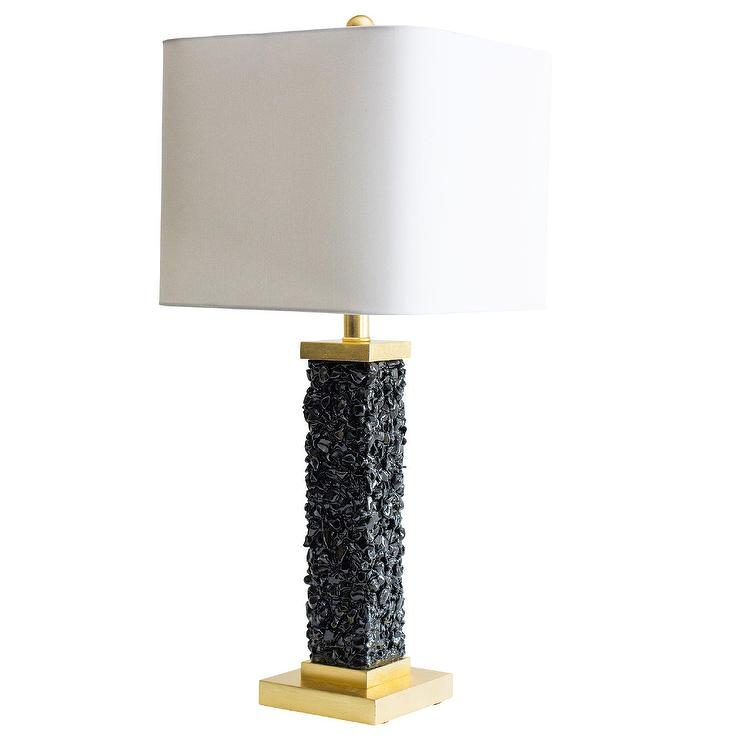 Tadley Black Pebbles Gold Table Lamp