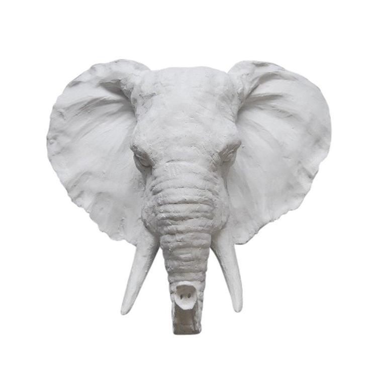 Resin White Elephant Head Wall Decor