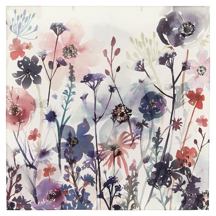 Wildflower Pink Blue Cotton Wall Tapestry
