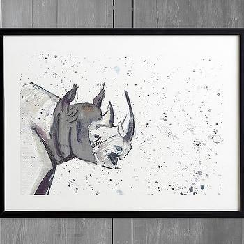 Minted black white rhino wall art