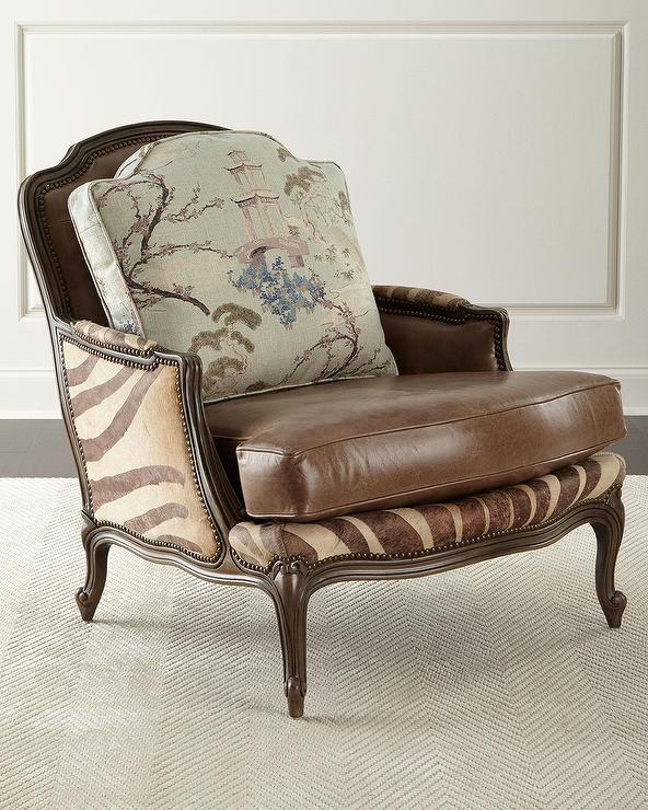 Massoud Joleen Zebra Brown Leather Chair