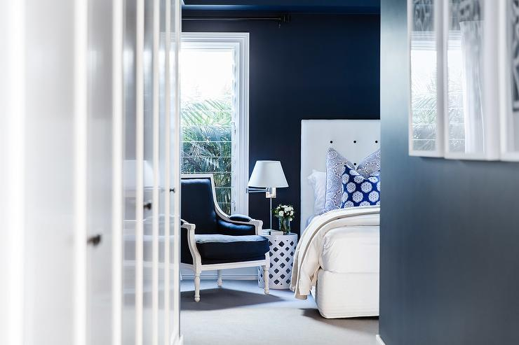 Blue Bedroom with Blue Bergere Chair - Transitional - Bedroom