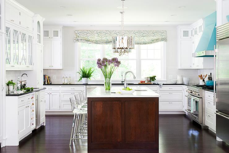 White Kitchen With Cherry Island Design Ideas