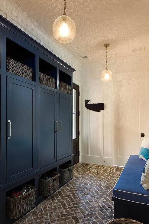 Navy Blue Mudroom Locker Cabinets With Brick Herringbone