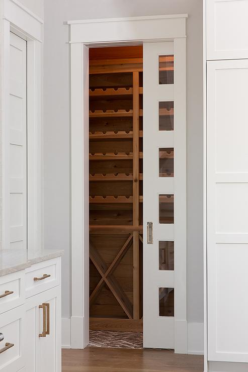 Glass Panel Pocket Wine Room Door Transitional Kitchen