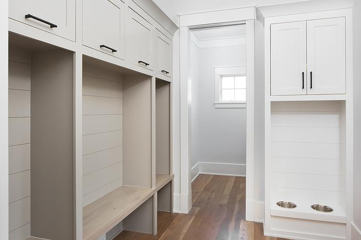 Beautiful Mudroom Built In Pet Food Bowls with Shiplap Trim - Transitional  EA03