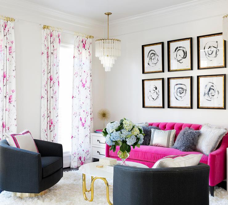 Hot Pink Velvet Tufted Sofa with Gray Swivel Chairs - Contemporary ...